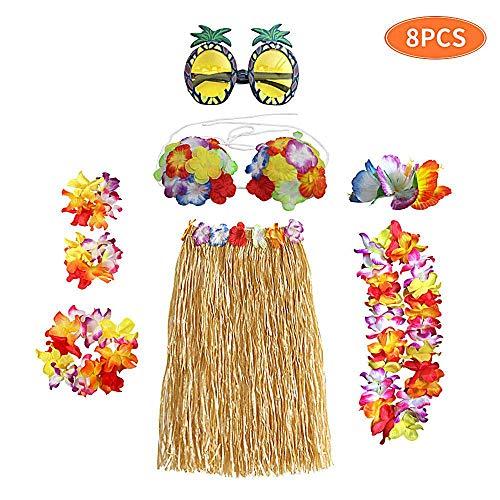 Kleinkind Kostüm Hula - AOLVO Hula-Rock-Set, 8-teiliges Hula-Rock-Set, elastisch, Kunststoff,