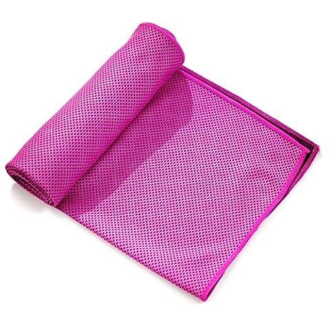 Serviette de refroidissement pour sports, Serviette de refroidissement pour soulagement instantané, Cool Serviettes pour entraînement, fitness, gym, yoga, pilates, Voyage, le camping, 101,6x 30,5cm, rose rouge