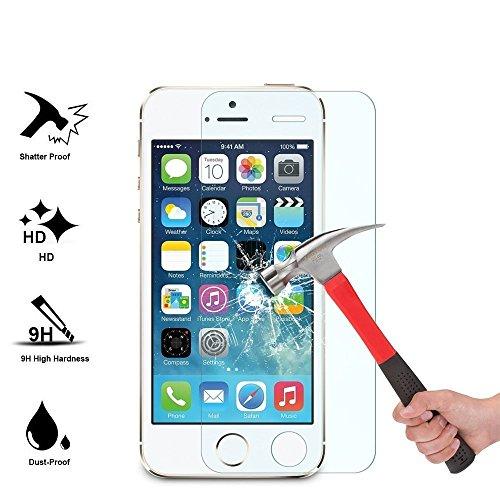 VPOWER® iPhone SE / 5S / 5 weiche TPU Silikon Hülle Case Cover Schutzhülle transparent Panzerglas