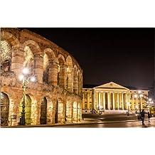 Cuadro sobre lienzo 90 x 60 cm: Arena and Palazzo Barbieri, Verona de Colourbox - cuadro terminado, cuadro sobre bastidor, lámina terminada sobre lienzo auténtico, impresión en lienzo