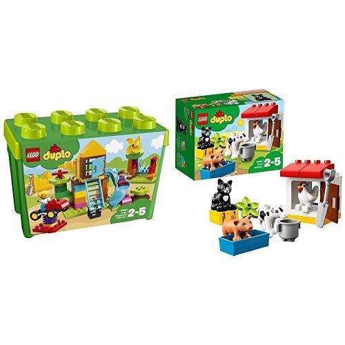 LEGO Duplo 10864 - Steinebox mit großem Spielplatz, Große Steine &  Duplo 10870 - Tiere auf dem Bauernhof, Lernspielzeug