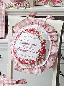 Coussin style shabby chic avec deux froufrous blanc et rose à carreaux