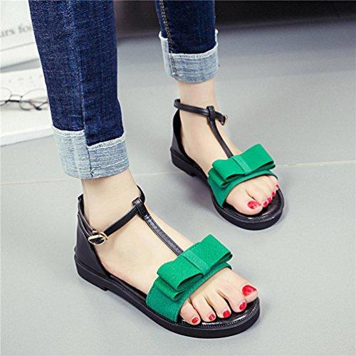 Hunpta Frauen rutschfeste Sandalen Neue Sommerflache mit Gürtelschnalle Sandalen Grün