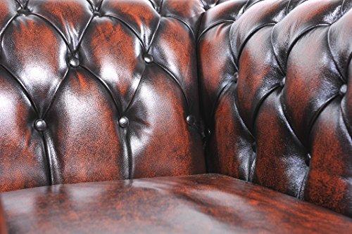 Original Chesterfield Sofa und Sessel – 1 / 1 / 2 Sitzer – Vollständig Handgewaschenes Leder – Antik Brain