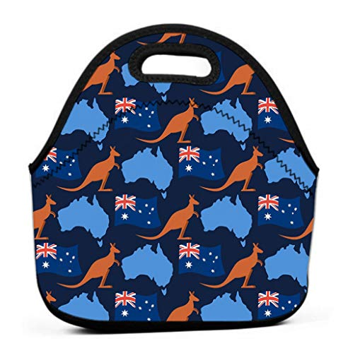 Insulated Lunch Box Bag,Leak Proof Reusable Lunch bag, Eco-friendly Cooler australia day seamless ornament kangaroos flag australia continent map state