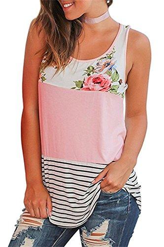 ASKSA Damen T-Shirts Sommer ?rmellos Bluse Blume Gedruckt Streifen Patchwork Rundhals Oberteil Tops Blusen Shirt (Rosa,X-Large)