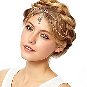 Metme Flapper Stirnbänder Kopf Kette Schmuck Kopfschmuck Böhmische Haarschmuck für die Hochzeit Party für Damen Gatsby Kostüm Zubehör