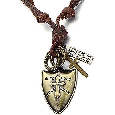 Knight Shield Collar con Colgante en forma de cruz para hombre Boys con cordón de cuero ajustable