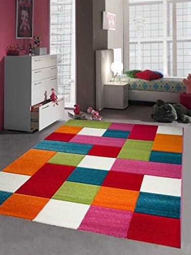 Kinderteppich Spielteppich Kinderzimmer Teppich Karo bunt türkis orange weiss rot pink Größe 120x170 cm