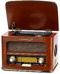 Nostalgie Kompaktanlage | Retro Radio Holz mit CD Player | USB Wiedergabe | Musikanlage Retro Style | Stereoanlage | Fernbedienung | Küchenradio | Vintage Optik | Nostalgieradio | integr. Lautsprecher (Nostalgie Holz)