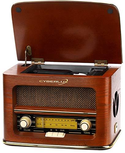 ompaktanlage | Retro Radio Holz mit CD Player | USB Wiedergabe | Musikanlage Retro Style | Stereoanlage | Fernbedienung | Küchenradio | Vintage Optik | Nostalgieradio | ()