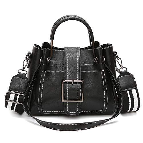 Vintage PU Leder Handtasche Damen Henkeltasche Umhängetasche Schultertasche Crossbody Tasche für Frauen Mädchen - Schwarz