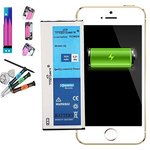 Trop Saint Akku für iPhone SE - 1624mAh/3,8V mit Werkzeug und Sticker (Oem Ersatz Apple Batterie)