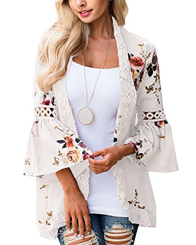 Kinikiss Florale Kimono Damen Chiffon Spitze Sommerkleid Beach Cover Tops Blusen Boho Casual Bluse Cardigan Oberteile