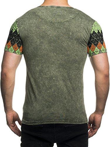 TAZZIO V-Kragen T-Shirt mit Flockdruck 16108 Khaki