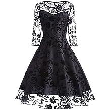 iShine Abiti da Sera da Donna Vintage in Pizzo Vestito con Scollo A V A  Maniche Corte 3353da794a2