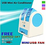 GKP Products ® Mini USB Small Fan Cooling Portable Desktop Dual Bladeless Air Conditioner. with Free inside the surprise Gift.