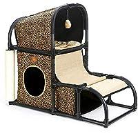 Yzibei Cómodo Árbol de Gato Torre de Gato Muebles Gatito Actividad Torre Condominio con Perchas y Postes para rascar Centro de Actividades de Cuerda para Gatitos (Color : A)