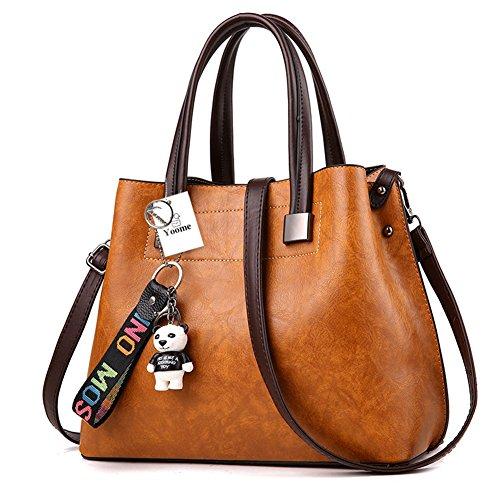 Yoome borse vintage per le donne borse a tracolla retrò per borse a tracolla borsa con bambola dei cartoni animati - marrone Marrone