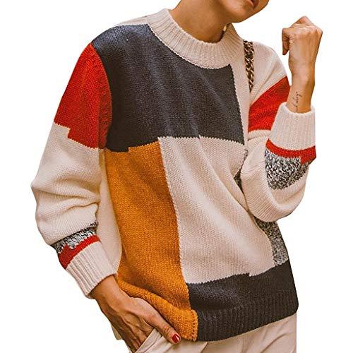 One-shoulder Knit Top (Sweater Women's Stilvoll Knit Baggy Rundkragen Weich Bunt Einfach Tops(Kaffee,XL))