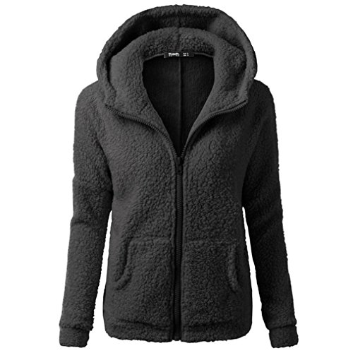 Chaqueta o abrigo , Challeng ropa de moda a la calle cálido Abrigo de invierno con capucha de las mujeres Abrigo de invierno con cremallera de lana caliente Abrigo de algodón (5XL, negro)
