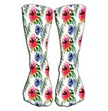 """High Socks Novelty Compression Long Socks For Women And Girls 19.7""""(50cm) beautiful bright lovely wonderful green tropical hawaii floral herbal summer colorful tropical flowers hibiscus pal Refreshing"""