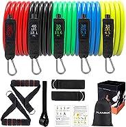 Bande Elastiche Fitness Uomo,Set di Fasce di Resistenza con Maniglie,Gancio per Porta,Cinghie per Caviglia, Ba