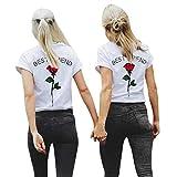 Ba Zha HEI New Mode Frauen Beste Freund Buchstaben Rose gedruckt T Shirts Best Friends Sister Damen T-Shirt Aufdruck Mädchen Sommer Oberteile Top Mode Sehr Angenehm zu Tragen BluseTops (rot, XL)