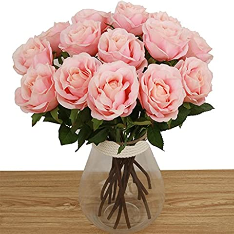 Toechmo High Quality Artificial Flowers, Real Touch Silk Flowers Artificial Rose Flowers Home decorations for Bridal Wedding Bouquet, Birthday Flowers Bunch Hotel Party Garden Floral Decor (Pink)