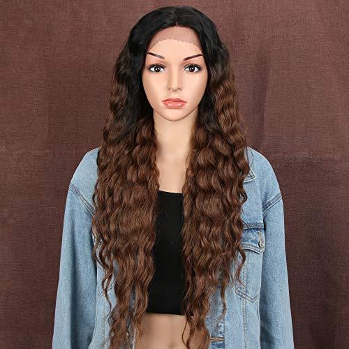 Lace Baby-haar-perücke (Style Icon Lace Front Perücken Wigs 76cm Lang Wellige Synthetische Perücken Für Frauen Tief mittel Teil Baby Haar Hitzebeständige Fasern Spitze Front)