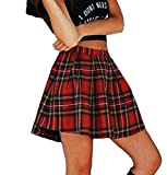 ZEZKT♪ Hoher Taille A-Linie Plaid Kariert Plissee Midi Tartan Rock Kurzen Minirock Damen Tartan Rock 50er Vintage Minirock Schulmädchen-Stil Faltenrock Schuluniform (M, Rot)