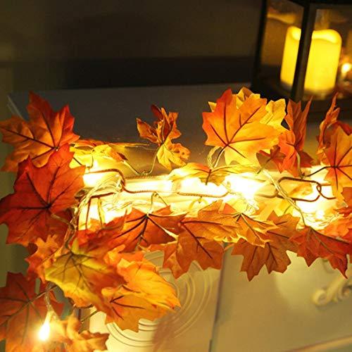 Prevently Halloween Lichter, Halloween Themed LED Ahornblatt Dekoration Rattan, LED Beleuchtet Herbst Herbst Kürbis Ahorn Blätter Garland Thanksgiving Decor 1.7M