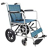 EMOGA Wheelchair Folding 12Kg Lightweight With Full-Length Arms And Elevating Leg Rests,43Cm Seat,Handbrake Transport Wheelchair