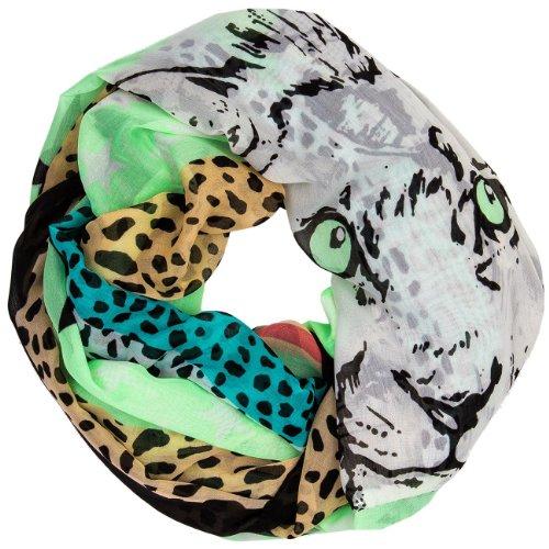 CASPAR - Écharpe tube pour femme - foulard avec imprimé léopard et tête de lion - plusieurs coloris - SC322