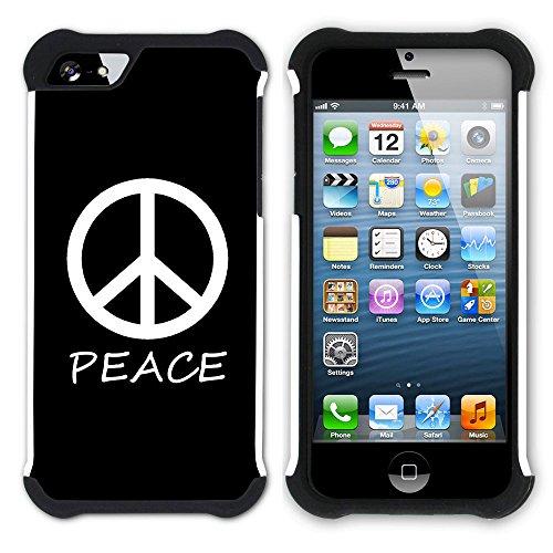 Graphic4You Peace Sign Friedenszeichen Design Hart + Weiche Kratzfeste Hülle Case Schale Tasche Schutzhülle für Apple iPhone SE / 5 / 5S (Aqua Blau) Schwarz