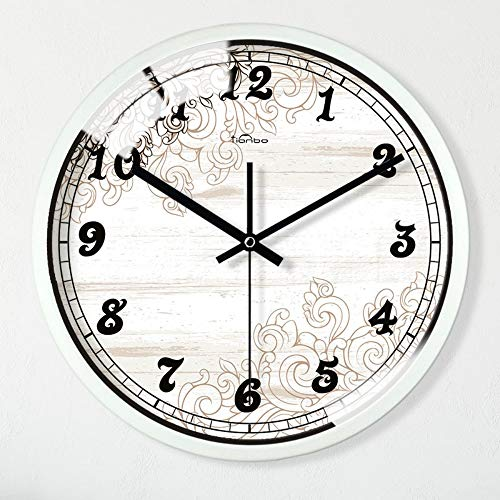 miaoofe Wanduhr 12-Zoll- / Dekorative Uhrenkunst-Stilglasscheibe Ohne Tickende Quarzuhrdekorationsuhr 02