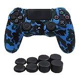 YoRHa Camuffamento di stampa di trasferimento dell'acqua Cassa pelle copertura silicone skin cover per Sony PS4/Slim/Pro Controller x 1 (blu) Con PRO presa del pollice thumb grips x 8
