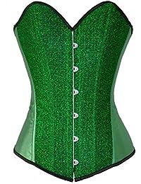 SZIVYSHI Brillant paillettes Satin Burlesque Boned Overbust Manteaux Corset Bustier Sexy Costume