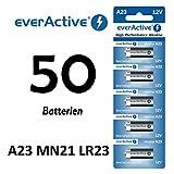 NEMT 50 Stück A23 12V everActive Alkaline Batterien MN21-V23GA-23A 12 Volt 55 mAh