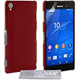 Yousave Accessories Hard Hybrid Cover Case für Sony Xperia Z3, rot