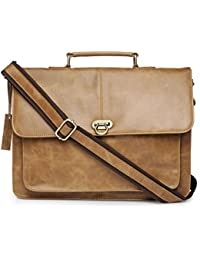 The House Of Tara Genuine Leather Office And Laptop Bag (Distress Tan) HTMB 069