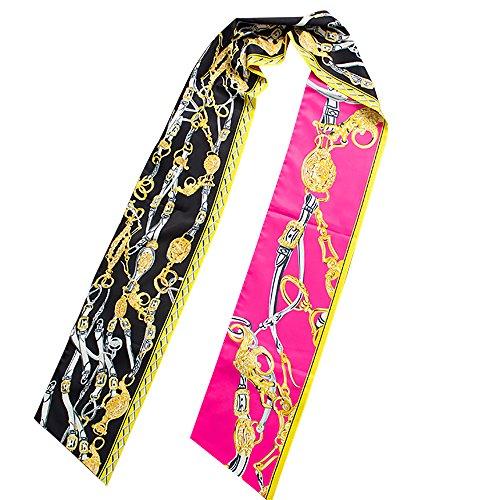 Seidenschal Langschal Halsschal Handtaschen Deko Haarschmuck Haarband 2017 Top Trend 200 cm x 18 cm (Pink) (Seide Schal Handtasche)