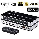 Tendak HDMI 2.0 Switch 4 Port HDMI Umschalter 4K HDMI Verteiler HDMI Schalter 4 auf 1 mit Optisch und L/R Audio Extractor mit Fernbedienung Unterstützt UHD 4K@60Hz HDCP 2.2 ARC 3D
