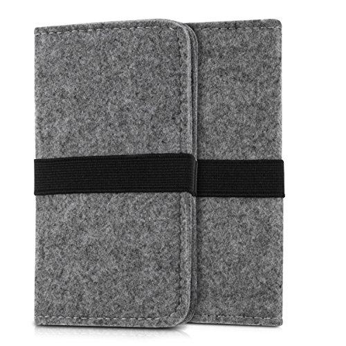 kwmobile Wallet Case Filz Hülle für Smartphones mit Gummiband - Cover Flip Filztasche mit Kartenfach in Grau - z.B. geeignet für Samsung, Apple, Wiko, Huawei