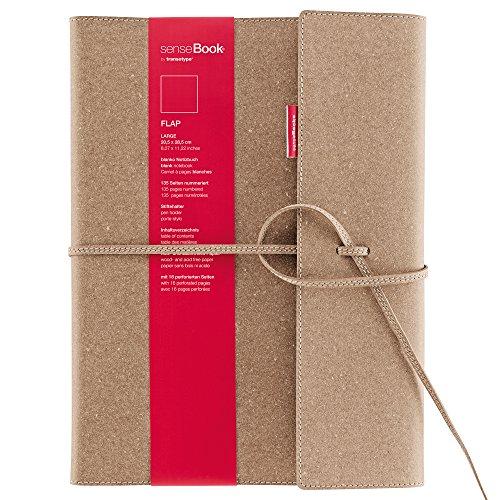 transotype senseBook FLAP Design Notizbuch refillable, large - ca. A4, blanko, weitere Varianten auswählbar, mit Klappe und Schnürung, edles Rinderleder Schnürung Design
