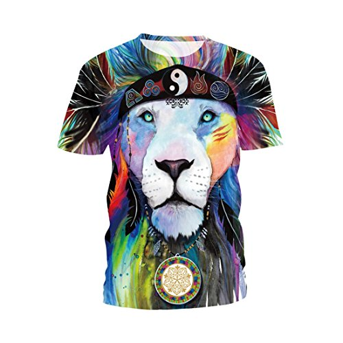 SEVENWELL Männer Frauen 3D Graphic Tees Lustige Digital Gedruckte 3D T-Shirt mit Kurzen Ärmeln XXXL Löwe 6 (T-shirt Jungen Graphic Kleinkind)