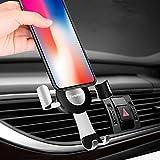 iVoler Soporte Móvil Coche Universal [Rotación de 360 Grados] para Rejillas del Aire, Automático Ajustable Gravedad Soporte para Móviles Dispositivo GPS. Anchura de 6,5 cm a 9,2 cm - Plateado