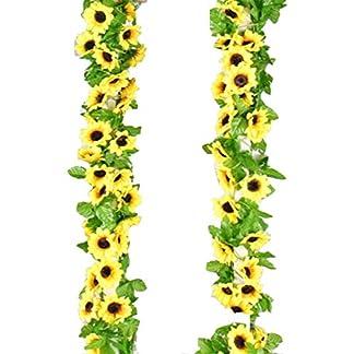 Eazyhurry 260 cm Artificiales Girasol Vid Flor Artificial Planta Vid Artificial Flores para Guirnalda de la Boda Casa Cocina Jardín Fiesta Cerca Decoración (2 Paquetes)