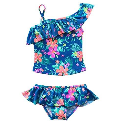 Freebily Kinder Mädchen Badeanzug Zweiteiler Tankini Kleinkind Mini Bikini Set Geblümte Bademode Schwimmkleid Badekleid in Gr. 98-122 Blau Geblümt 116 (Kleinkind Bademode Mädchen)