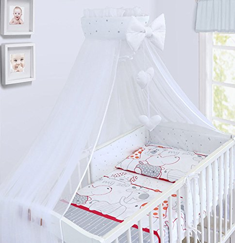 LUXURY 10Pcs BABY BEDDING SET COT BED PILLOW DUVET COVER BUMPER CANOPY to Fit Cot Bed Size 140x70cm 100% COTTON (Zoo Red)
